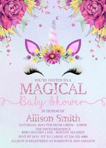 Unicorn Purple Floral Unicorn Face Baby Shower Invitation Custom Persona... - £0.74 GBP