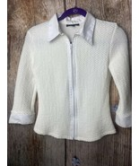 Authentic Maurice Sasson Top Pleated Zip Up Off White  Stretchy 3/4 Slee... - $8.91