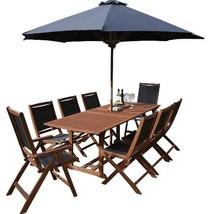 Dining Set 8 Seater Large Parasol Solid Wood Extendable Rectangular Pati... - €831,96 EUR