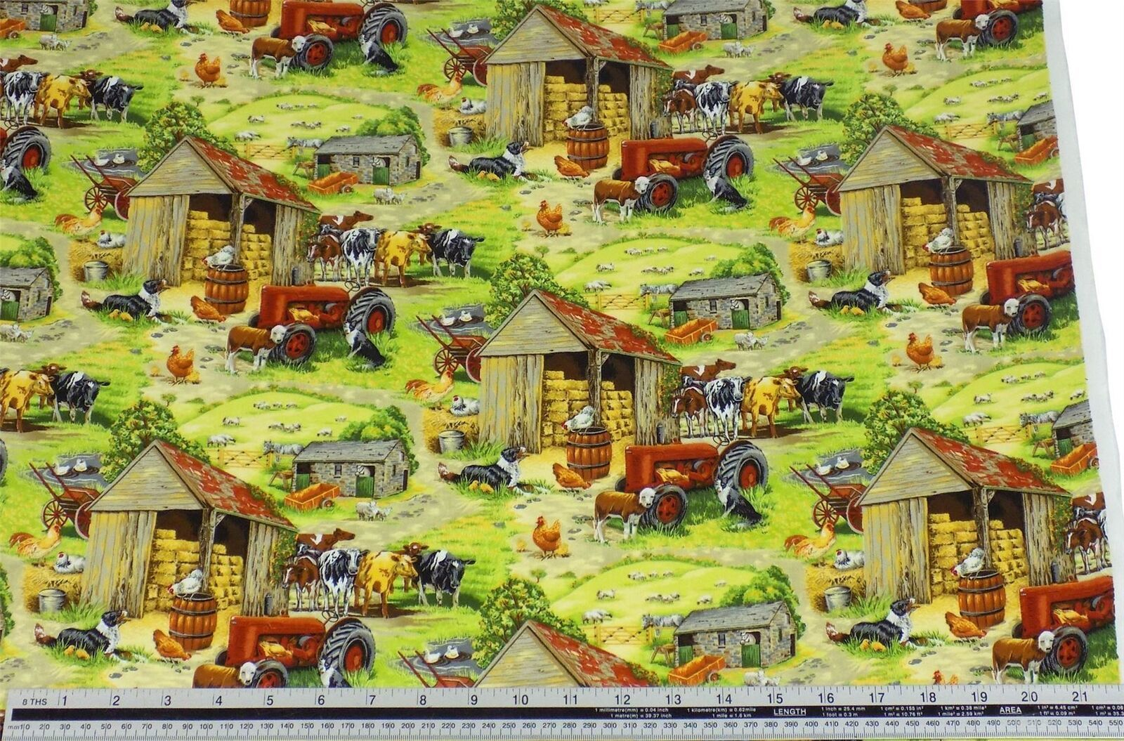 Rural Farmyard Green 100% Cotton High Quality Fabric Material 3 Sizes