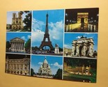 Vintage Paris France Postcard With A 8 Photo Collage Printed By OVET