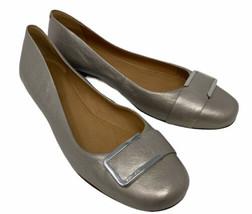 Coach 11 B Ballet Flats Round Toe Metallic Gold Leather Women's 41 - $59.95