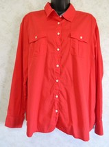 Tommy Hilfiger Classic Fit Red Color Roll Up Tab Sleeves Woman's Blouse Size XL - $16.71