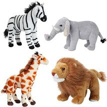 Dazmers Safari Animals Stuffed Animals – Jungle Animals Toys Set of 4 Wild Anima