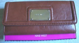New Nine West Women's Patine Checkbook Section Box Wallet Nutmeg Color - $33.65