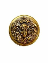 Art Nouveau Woman Bronze-Antique Gold Tone Brooch Pin Made In US Costume Jewelry - $12.83