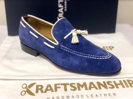 Handmade Men's Blue Suede Slip Ons Loafer Dress/Formal Shoes image 3