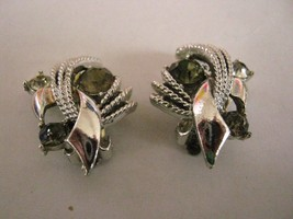 CLIP EARRINGS marked CORO silver colored metal with 3 rhinestones on each - $2.96