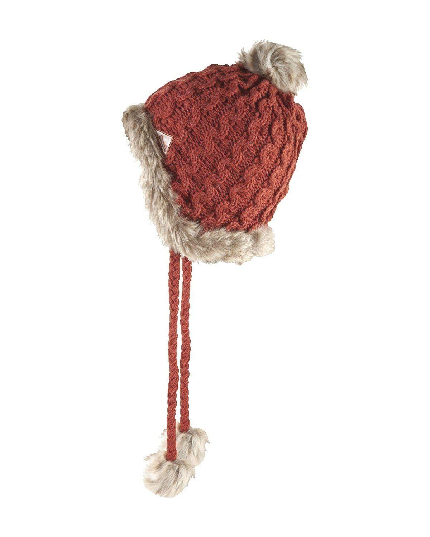 Bench Hough Red Beanie w Tassels Faux Fur Winter Ski Hat BLWA0346 NWT