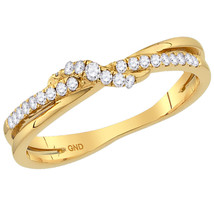 10kt Yellow Gold Womens Round Diamond Crossover Stackable Band Ring 1/6 ... - £132.21 GBP