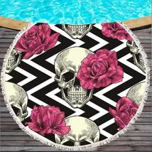 Skull & Flowers Printed Round Beach Towel - $27.99