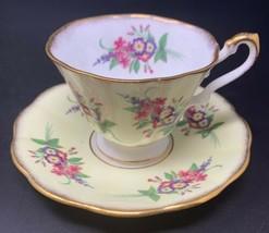 ROSINA Fine Bone China Tea Cup and Saucer Gold Trim Yellow Purple Pink F... - $18.95