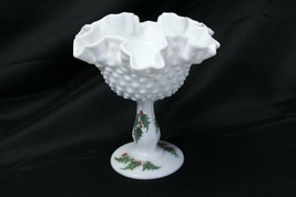 Fenton Xmas Hobnail Painted Compote Holly Signed Mary Schoeppner - $48.99