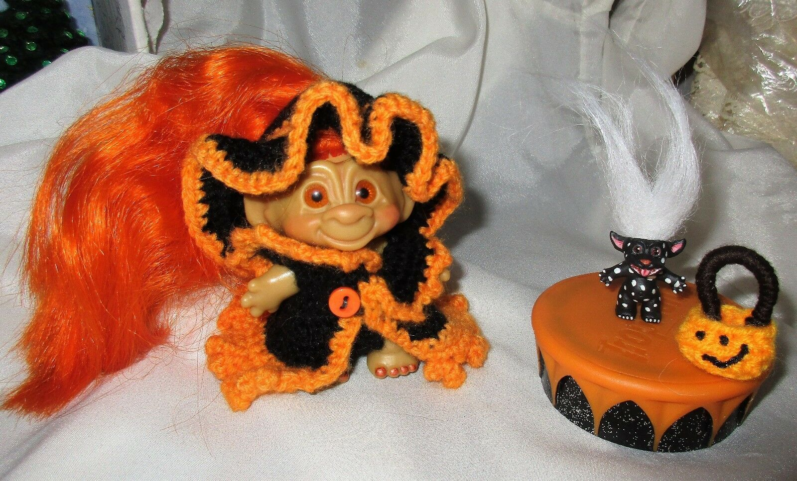"Halloween Witch + Mini Monster VINTAGE 60's ROOTIE TROLL 3"" ooak doll pumpkin"