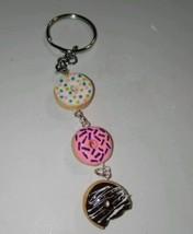 Cute Doughnut Charm Keychain Clay Food Fobs Keychain Accessory Donuts - $6.50