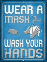 "Wear A Mask Wash Your Hands Novelty Metal Sign 9"" x 12"" Wall Decor - DS - $23.95"