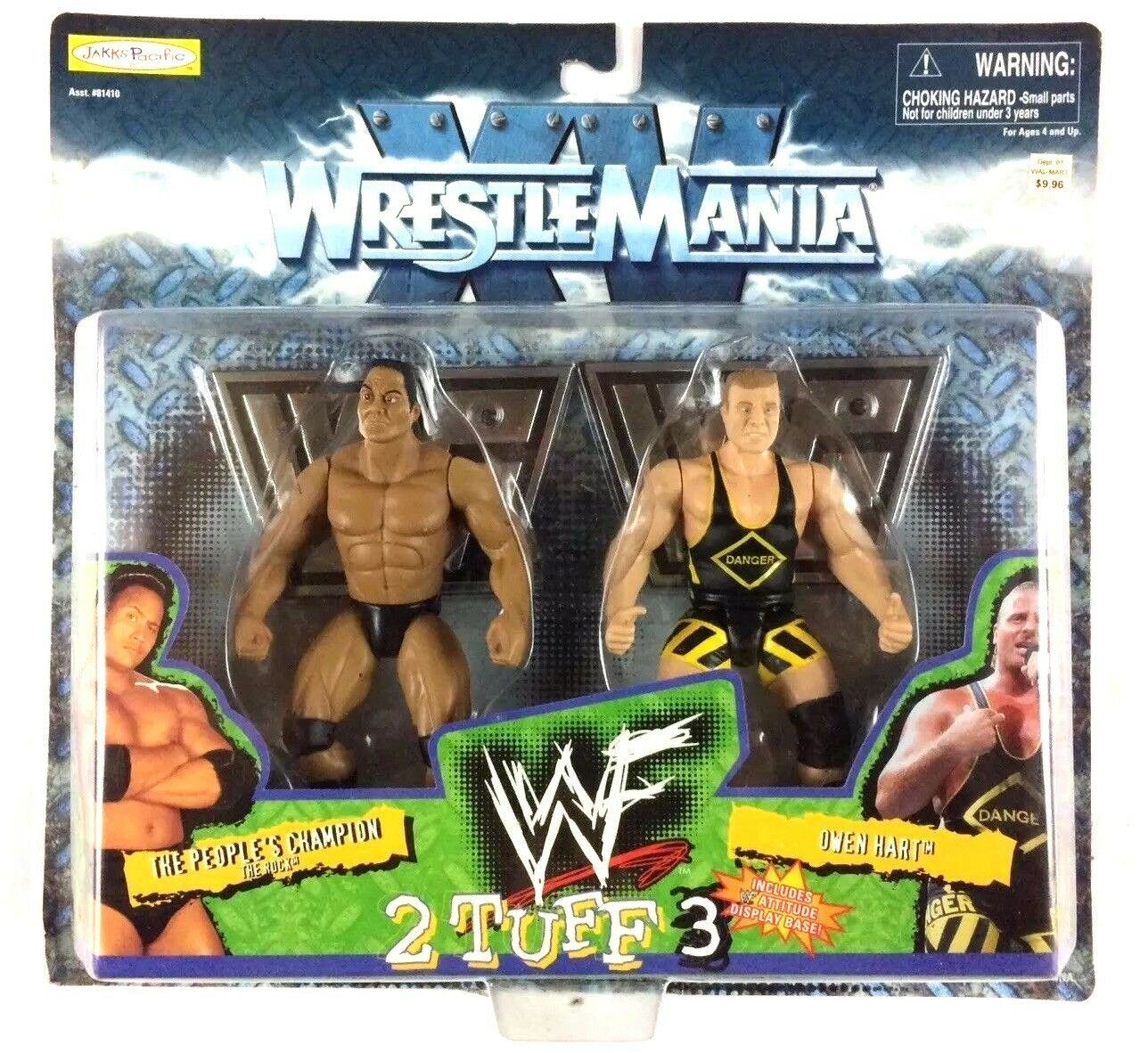 The Rock Owen Hart WWF 2 Tuff Series 3 WWE Jakks Action Figures 1998 Sealed