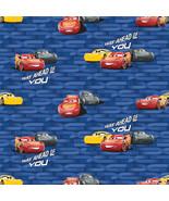 """Disney Cars 3 McQueen & Cruz 100% Cotton Fabric Remnant 32"""" - $7.35"""