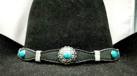 Black Scalloped HATBAND Leather w TURQUOISE, FEATHER and SILVER CONCHOS ... - €28,50 EUR