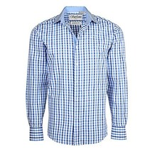 Men's Checkered Plaid Dress Shirt - Dark Blue, Medium (15-15.5) Neck 34/35 Sleev