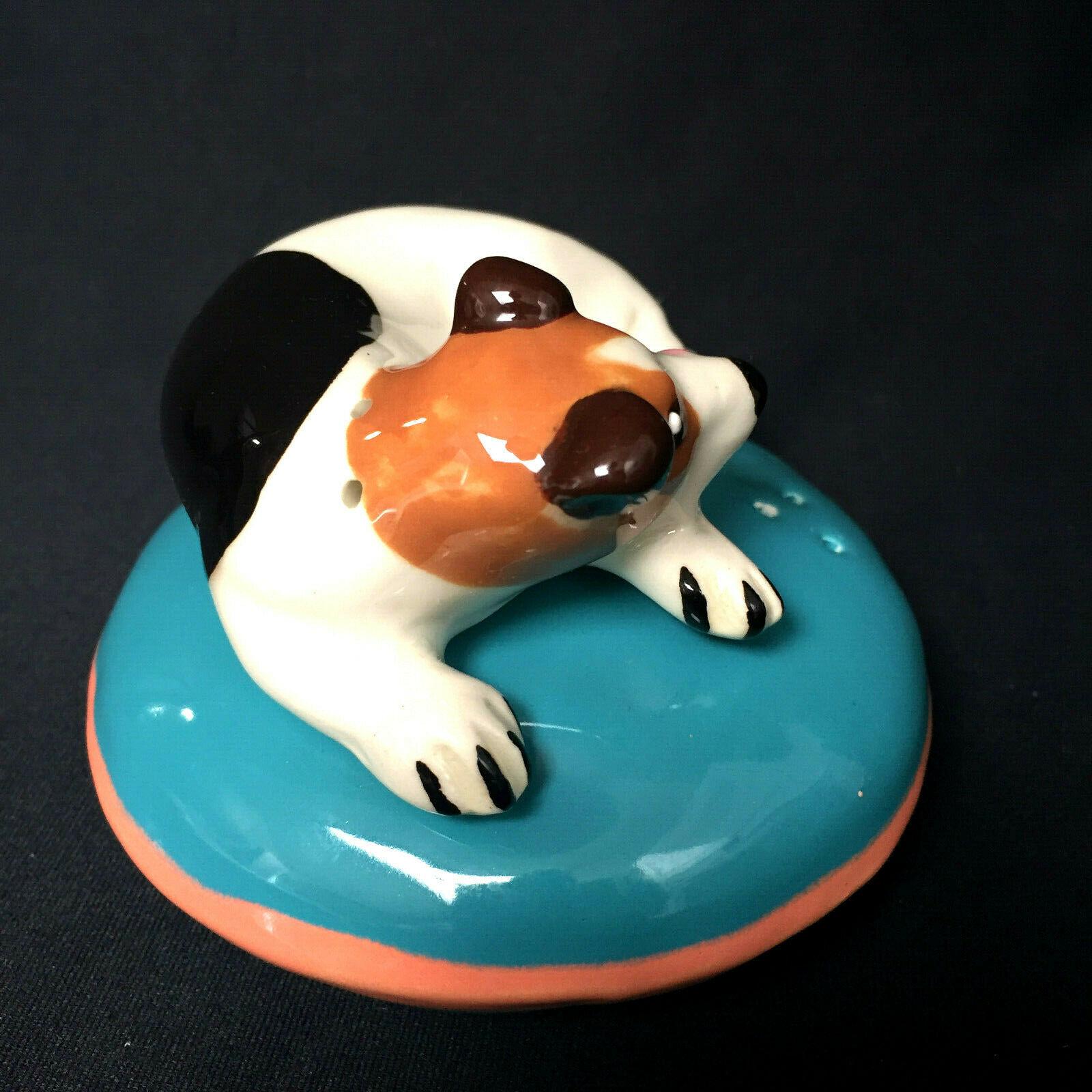 Dog On Pillow Canine Fox Terrier Salt And Pepper Shaker