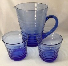 Cobalt Blue Glass Pitcher And Glasses Hand Blown Concentric Rings 3 Pieces - $29.69