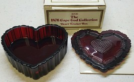 """Vintage Avon Cape Cod Ruby Red Heart Shaped 3 3/4"""" Trinket Box With Lid 1975-92 - $15.20"""