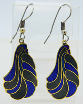 VTG Pair of Blue Feather Wave Abstract Cloisonne Enamel Dangle Drop Earr... - $14.85