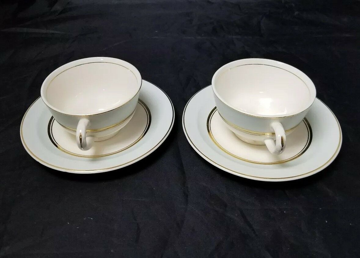 The French Saxon China Co Tea Cup & Saucer Set of 2, 22kt Gold, Pottery Made USA image 12