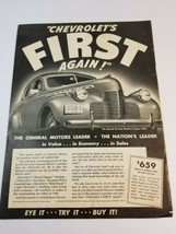 1940 CHEVROLET SPECIAL DE LUXE BUSINESS TWO PAGE BLACK & WHITE ADVERTISE... - $18.50
