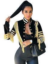 Women Tassels Long Sleeve Jacket Coat Gilding Buttons Blazer Party Clubw... - $81.00