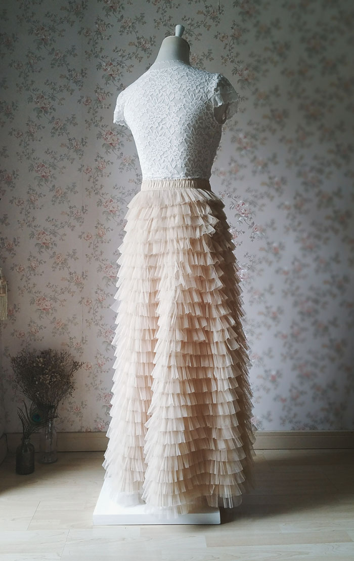CHAMPAGNE Tiered High Waisted Maxi Tulle Skirt Champagne Wedding Skirt NWT