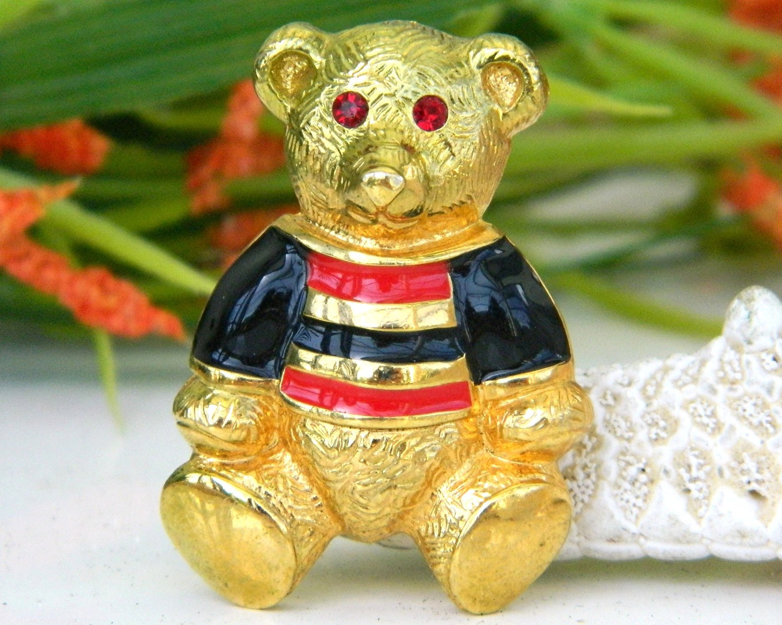 Primary image for Vintage Teddy Bear Brooch Pin Enamel Rhinestones Anne Klein