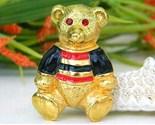 Vintage teddy bear brooch pin enamel rhinestones anne klein thumb155 crop