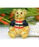 Vintage Teddy Bear Brooch Pin Enamel Rhinestones Anne Klein - $17.95