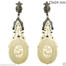 Gemstone Carved .925 Sterling Silver Pave Diamond 14k Gold Dangle Earrin... - $1,336.75