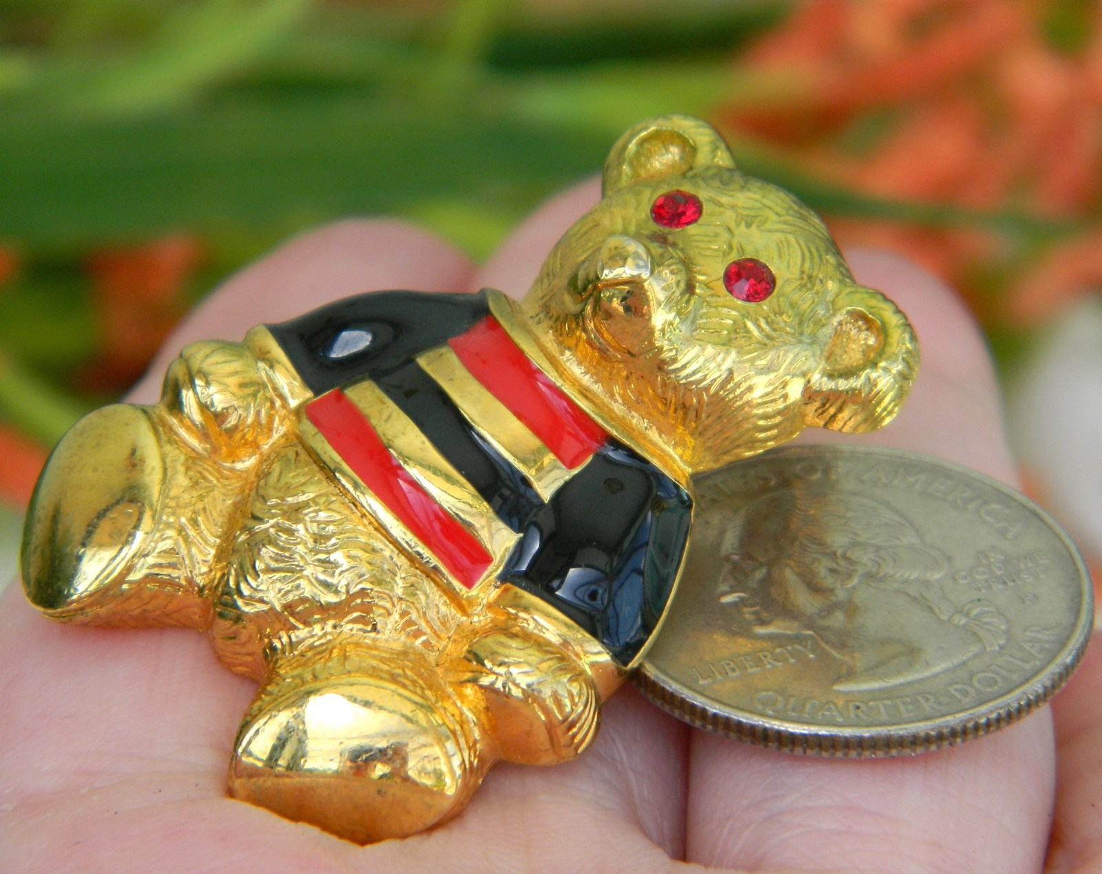 Vintage Teddy Bear Brooch Pin Enamel Rhinestones Anne Klein