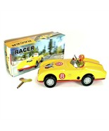 TIN TOY RACE CAR Collectible Classic Wind Up Yellow Racer w Rider Vintag... - $18.95