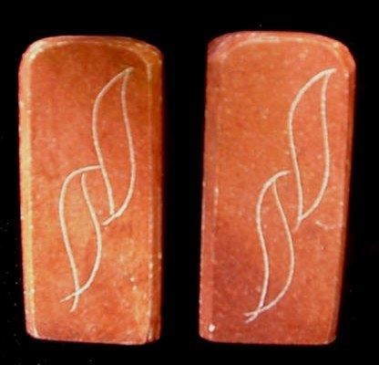 Old Sioux Indian Carved Catlinite Pipestone Salt Pepper