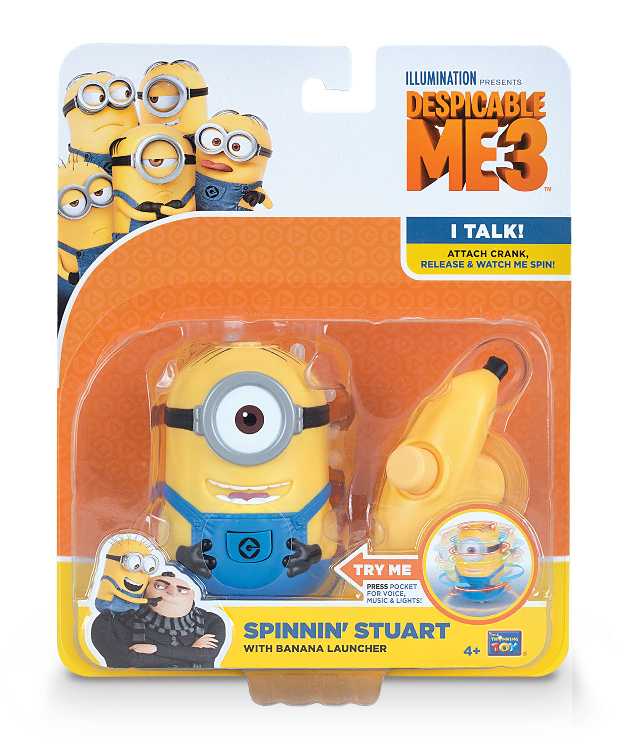 Primary image for Disney Despicable Me Minion Spinning Stuart with Banana launcher sounds + lights
