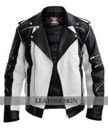 Michael Jackson White Thriller Premium Genuine Pure Real Leather Jacket Costume - $179.99