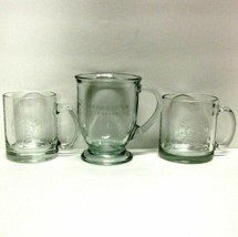 STARBUCKS COFFEE COMPANY LOT (3) CLEAR COFFEE CUPS/MUGS ANCHOR HOCKING E... - $36.33