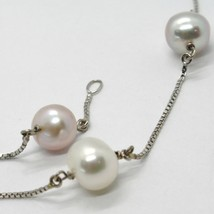 18K WHITE GOLD NECKLACE, VENETIAN CHAIN ALTERNATE PURPLE & WHITE PEARLS 8.5 MM image 2