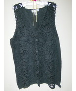 Private Party Vest Sweater Crochet Top Black L  - $10.00