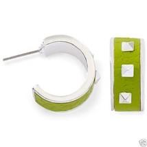 "Authentic Liz Claiborne Silvertone Green Stud Earrings Pierced 1"" New Si... - $7.99"