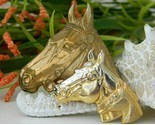 Triple horse head brooch pin gold tone metal equestrian thumb155 crop