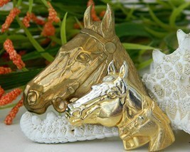 Triple horse head brooch pin gold tone metal equestrian thumb200