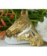 Triple Horse Head Brooch Pin Gold Tone Metal Equestrian - $15.95