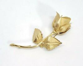 Vintage Signed Giovani Rose Flower Brooch Gold Tone Pin  - $9.97