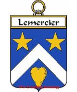 LEMERCIER French Coat of Arms Print LEMERCIER F... - $25.00